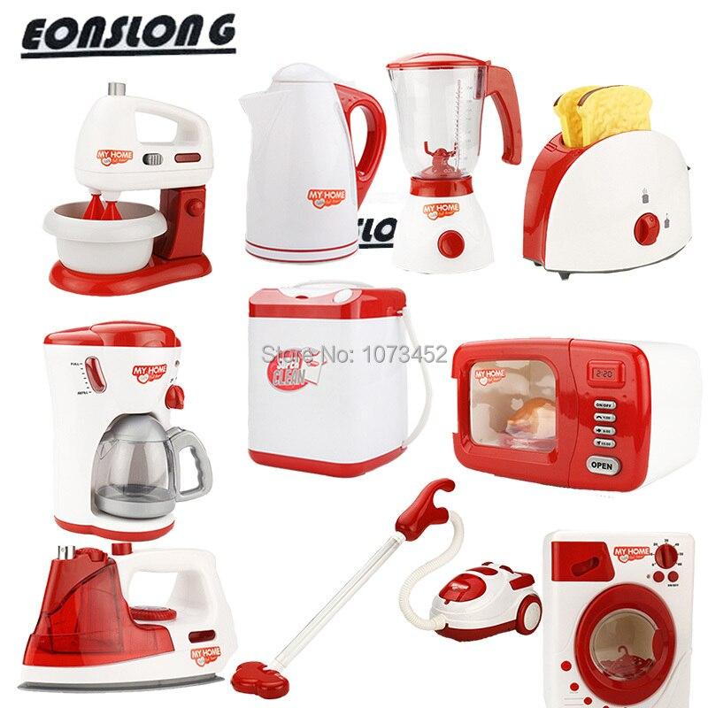 Simulation täuschen spiel-set kaffee maschine & eggbeater macihe & saft maschine & mikrowelle & vocuum reiniger spielzeug brinquedo nina