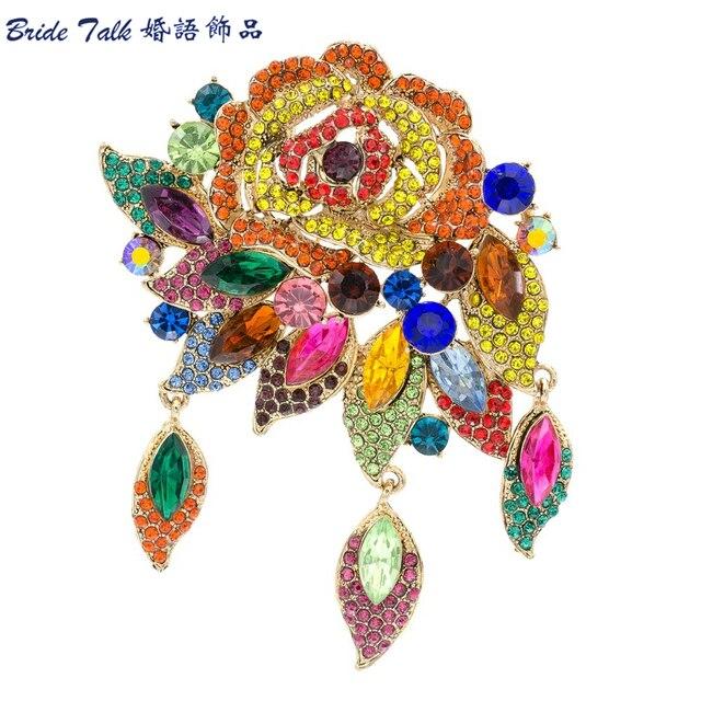 7 Cores Estilo Vintage Moda Estilo Art Deco Do Vintage Flor Rosa Broche Pin Pingente Strass Cristal 6454
