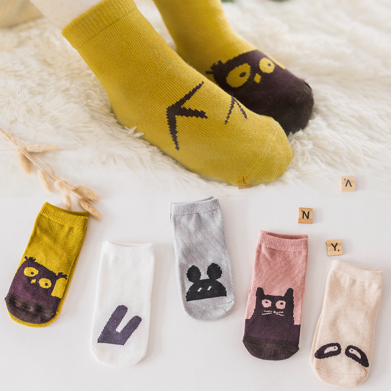 Joyo roy 5 Pairs Baby Cotton Socks Sweat Breathable Boys And Girls Baby Comfortable Non-Slip Children Socks FF59R