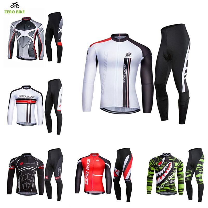 ZEROBIKE Frühling Herbst Fahrradbekleidung Herren Langarmtrikot Jacke 3D Gepolsterte Hose Atmungsaktive Bike Sportswear ropa ciclismo