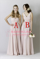 2014 New Arrival Two Country Style Pink Bridesmaid Dresses Sweetheart Ruched Formal Dresses Free Shipping BO5625