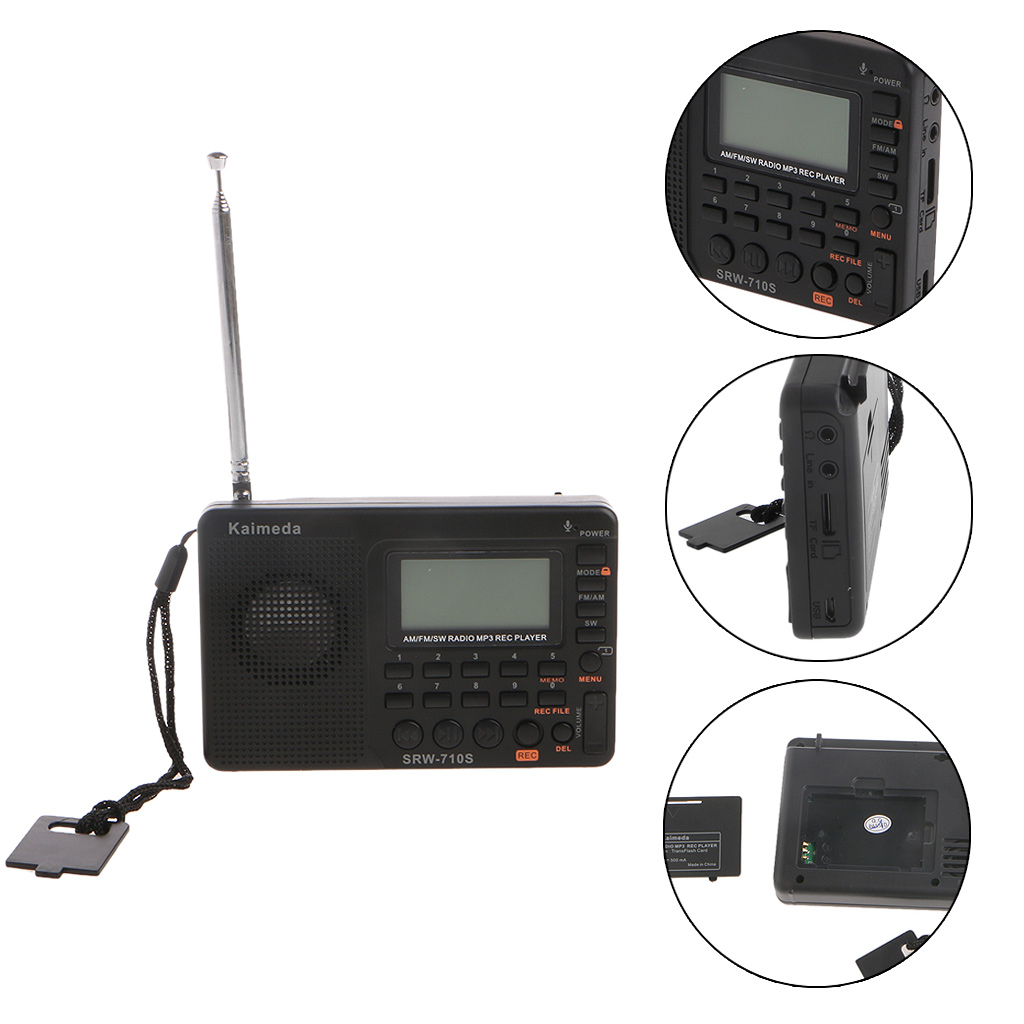 Portable Radio Receiver Digital Tuning LCD Receiver TF MP3 REC Player FM AM SW Full Band Radio