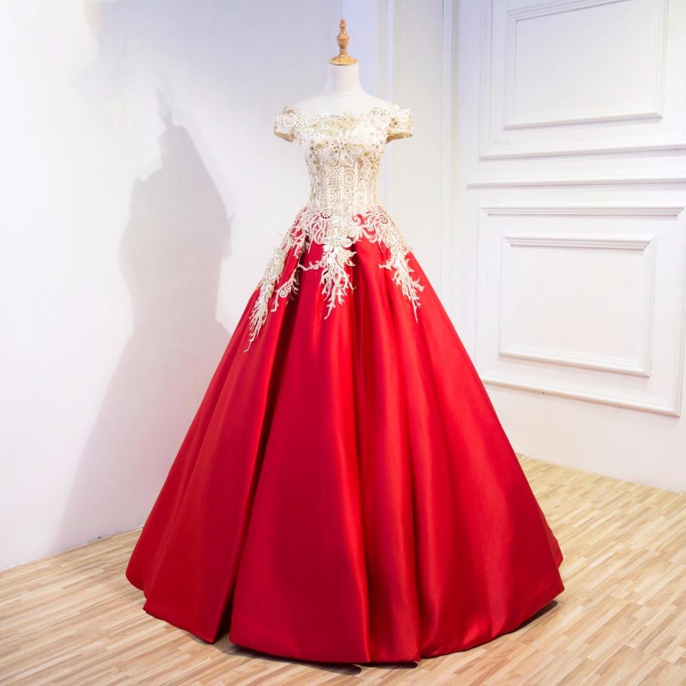Red Gold Appliques Evening Formal Dress Ball Gowns vestido de noiva Women  Floor Length Off Shoulder Evening Party Formal Gown 72a42e335c19