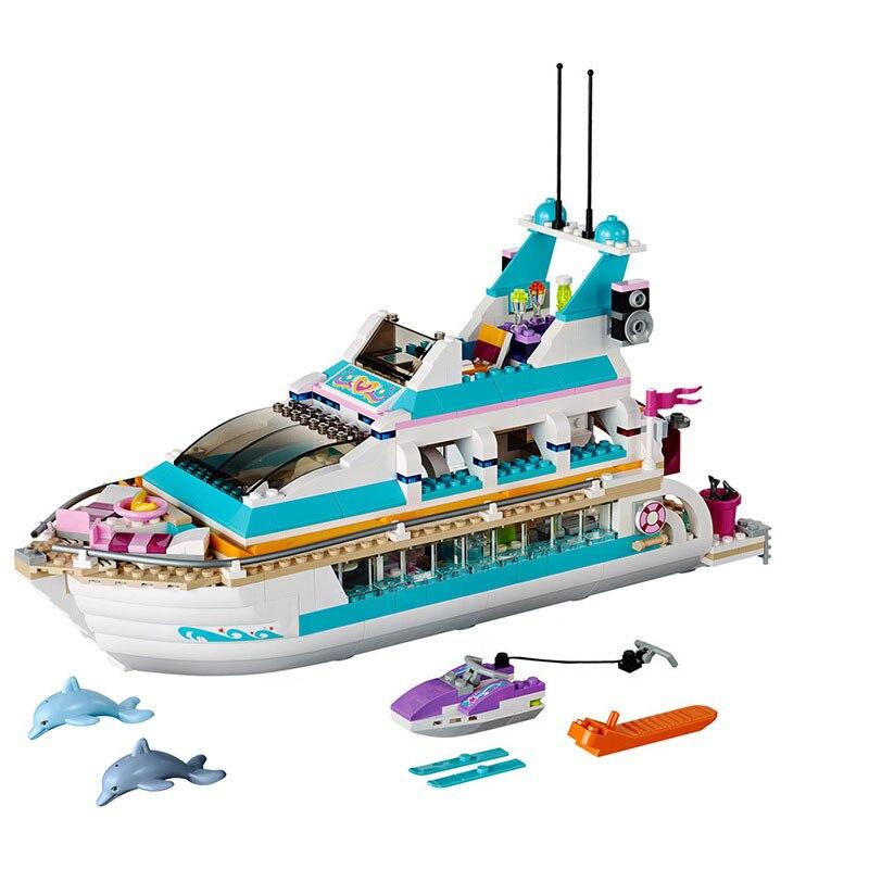 10172 Friends Series Girl Dolphin Cruiser Large Yacht Club Cruise Vessel Ship 41015 Building Blocks Bela Brick Legoings 618Pcs