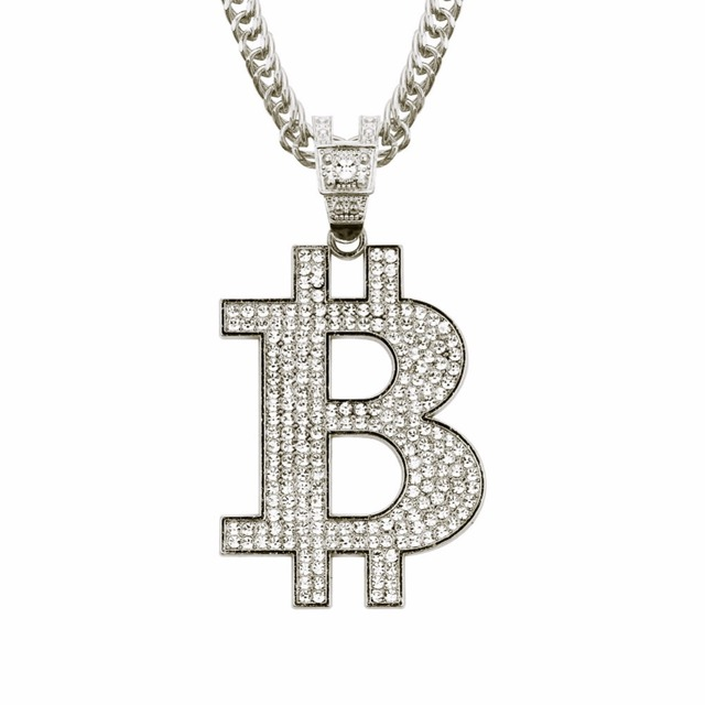 Bitcoin Gold and Bling Necklace 1