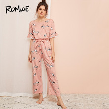 ROMWE Crane Print Lace Trim Woman Pajama Sets Set Half Sleeve Top With Knot Detail Pants Sleepwear Suits Summer Autumn Nightwear ruffle trim knot botanical shell top
