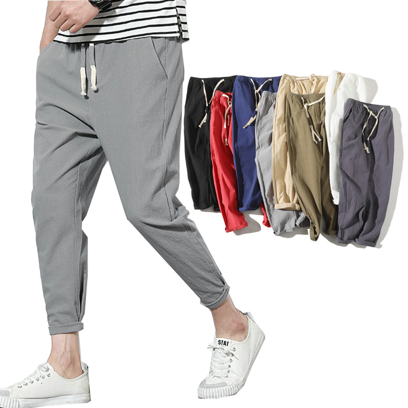 2020 High Quality Men's Summer Casual Pants Natural Cotton Trousers White Linen Elastic Waist Ankle-Length Man's Pants
