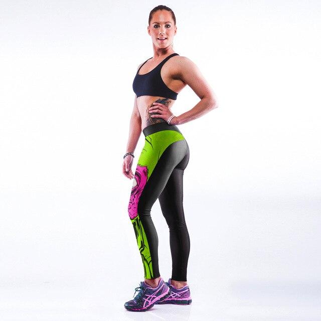 3D print fashion hot body leggings monster punk elastic pants   workout slimming waist butt lift leggins