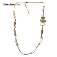 Shineland 2017 Hot Sale Boho Jewelry Antique Gold Color Stone Collar Necklace Statement Vintage Accessories Collier