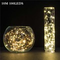 10M 33ft 100 led 3xAA battery power waterproof led copper wire string lights strip christmas festival wedding party decoration