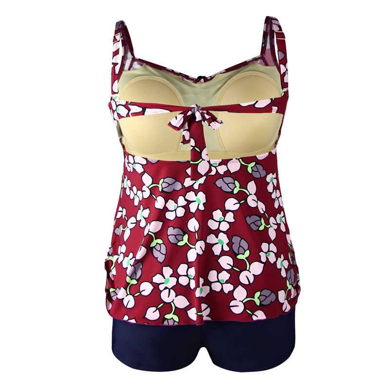 Perona Plus Ukuran Tankini Set Wanita Baju Renang Seksi Dua Piece Swimsuit Cetak Pakaian Renang Empuk Perban Baju Bon Jovi