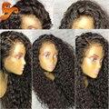 8A Llena Del Cordón Pelucas de Pelo Humano Para Las Mujeres Negras Brasileñas 360 Completo Peluca Delantera del cordón Con El Pelo Del Bebé Rizado Del Frente Del Cordón Pelucas de Cabello Humano