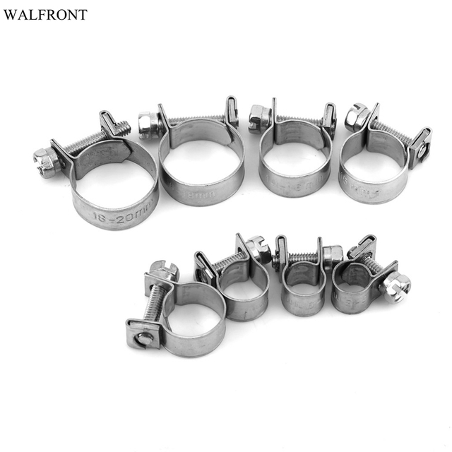 10Pcs/lot Mini Hose Clamps Stainless Steel Fuel Line Pipe Hose Clamp Tube Clip Hardware 6-20mm 8 Size Optional