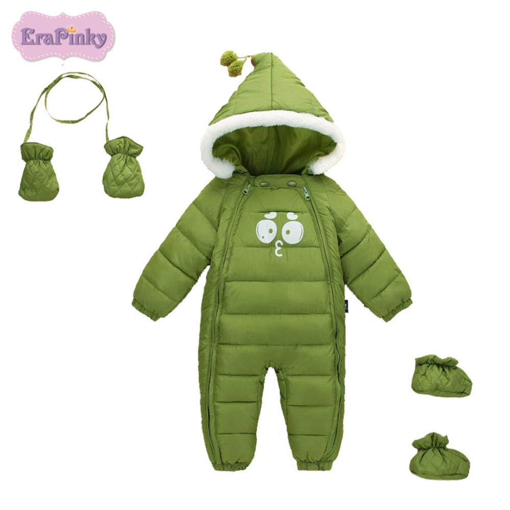 Erapinky 2018 Newborn Baby Hooded Rompers Winter Thick Warm Snowsuits Kids Cartoon Long Sleeve Jumpsuits Baby Outerwear Clothes цена