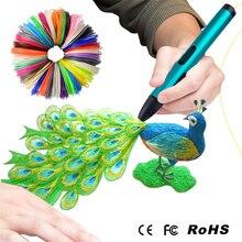 Новый USB 3D Ручка Детский Рисунок Пером Подарок На День Рождения ребенка 100 М 200 М ABS Накаливания Лучшие 3D Перо Принтер, с Нити Заправки 1 китай