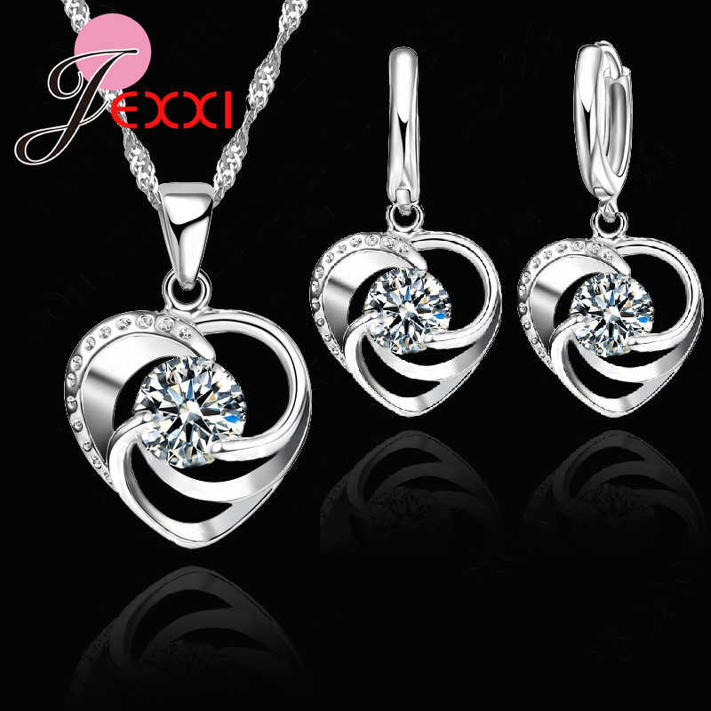JEXXI Top Quality 925 Pure Original Silver Wedding Jewelry Set Necklace Earrings For Women Crystal Heart LOVE Anniversary Gift