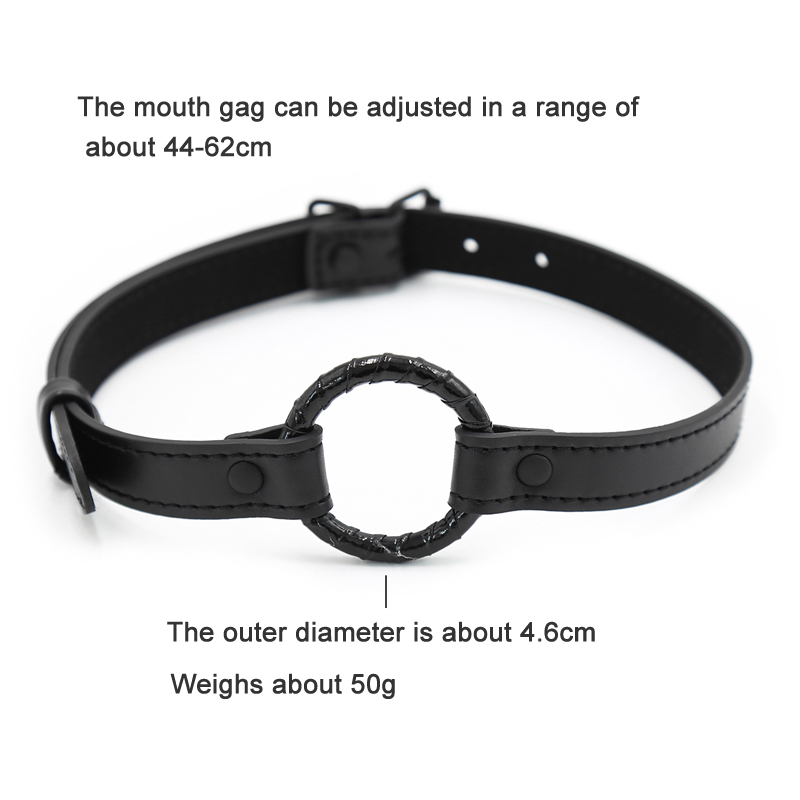 Image 2 - Black Sex Open Mouth Gag Harness Bdsm Bondage Leather Strap O Ring Gag Mouth Flirting Sex Toys For Woman Couples Adult Games    -