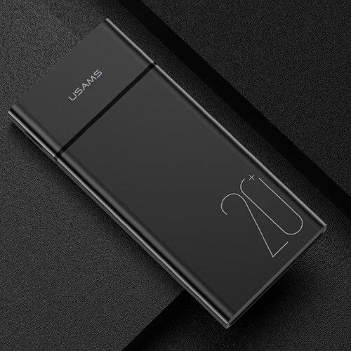 USAMS 20000 мАч Быстрая зарядка банка мощности для Xiaomi Mi 20000 мАч повербанк для iPhone зарядное устройство Внешний аккумулятор зарядное устройство Банк мощности - Цвет: Black