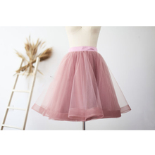 Pretty Mauve Tulle Skirt Short Women Vintage Midi TUTU Tulle Skirt Wedding Bridal Bridesmaid Skirt Zipper Waist Lolita Sais Jupe
