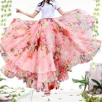 2019 Summer Bohemia Fashion Sweet Cute Holiday Pink Floral Chiffon Long Female Skirt designs Plus Size faldas largas elegantes