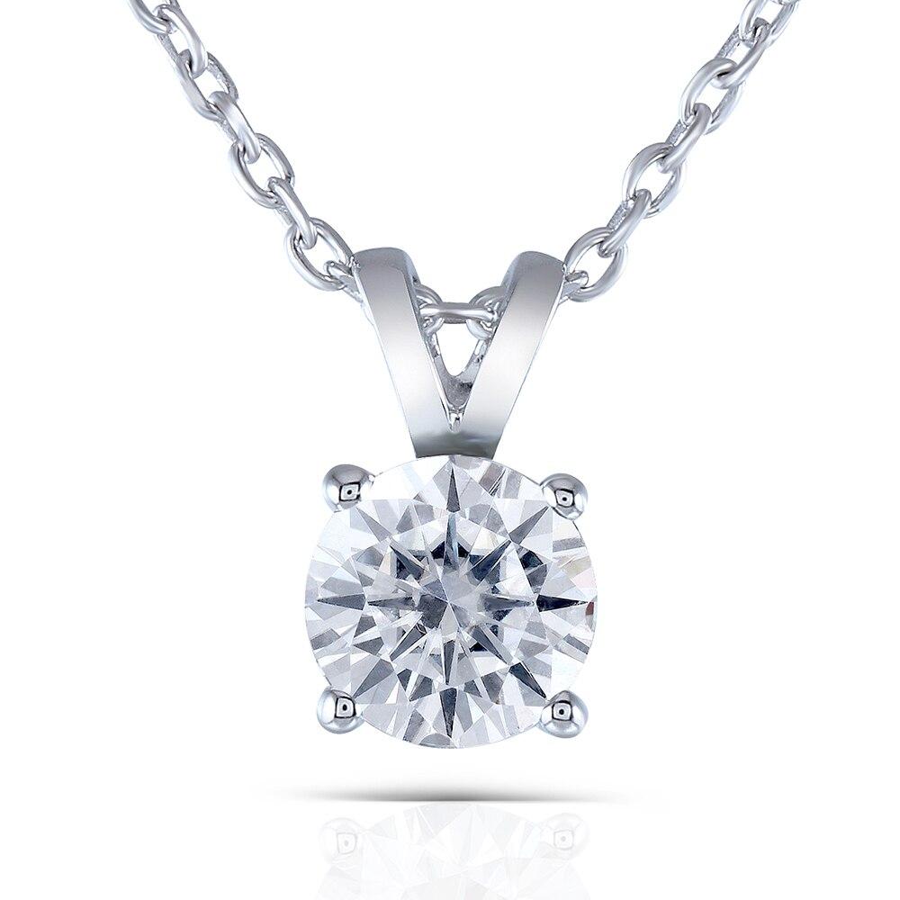 Transgems 2 карат 8 мм небольшой серый цвет Муассанит круглый Solitare кулон цепочки и ожерелья с платиновым покрытием серебро для женщин
