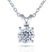 Transgems 2 Carat 8mm Slight Grey Color Moissanite Round Solitare Pendant Necklace Platinum Plated Silver for Women