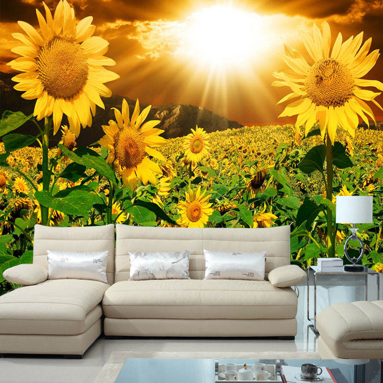 Wallpapers In Home Interiors: Beautiful Sunflower Photo Wallpaper Natural Beauty Wall