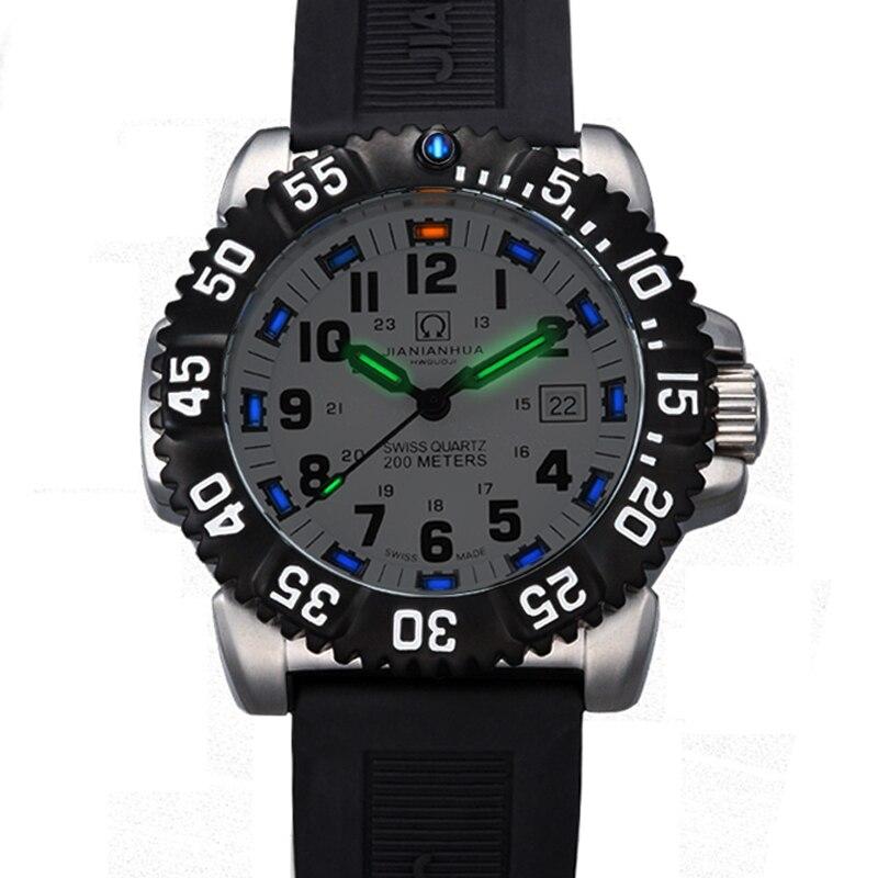 Suisse H3 mains lumineuses carnaval de luxe marque hommes montres Quartz militaire montre hommes 200 M plongeur étanche horloge C8447-2