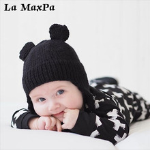 Cute Ear Braided Braid Baby Hat Pompom Bobble Winter Boys Clothing Girls Caps Children Hats accessories