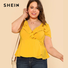 f9637a2b1d8 Yellow Plus Size Ruffle V Neck Wrap Top Blouse Clothings Top Large Size  Elegant Slim Solid Plain Blouse