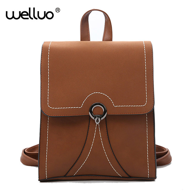 Leather Backpack Women Backpacks For Age S School Bags Multi Function Vintage Book Mochilas