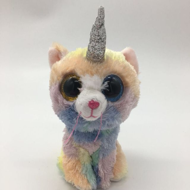 HEATHER UNICORN WITH HEART TAG LABEL TY BEANIE BOOS 1PC 15CM 6