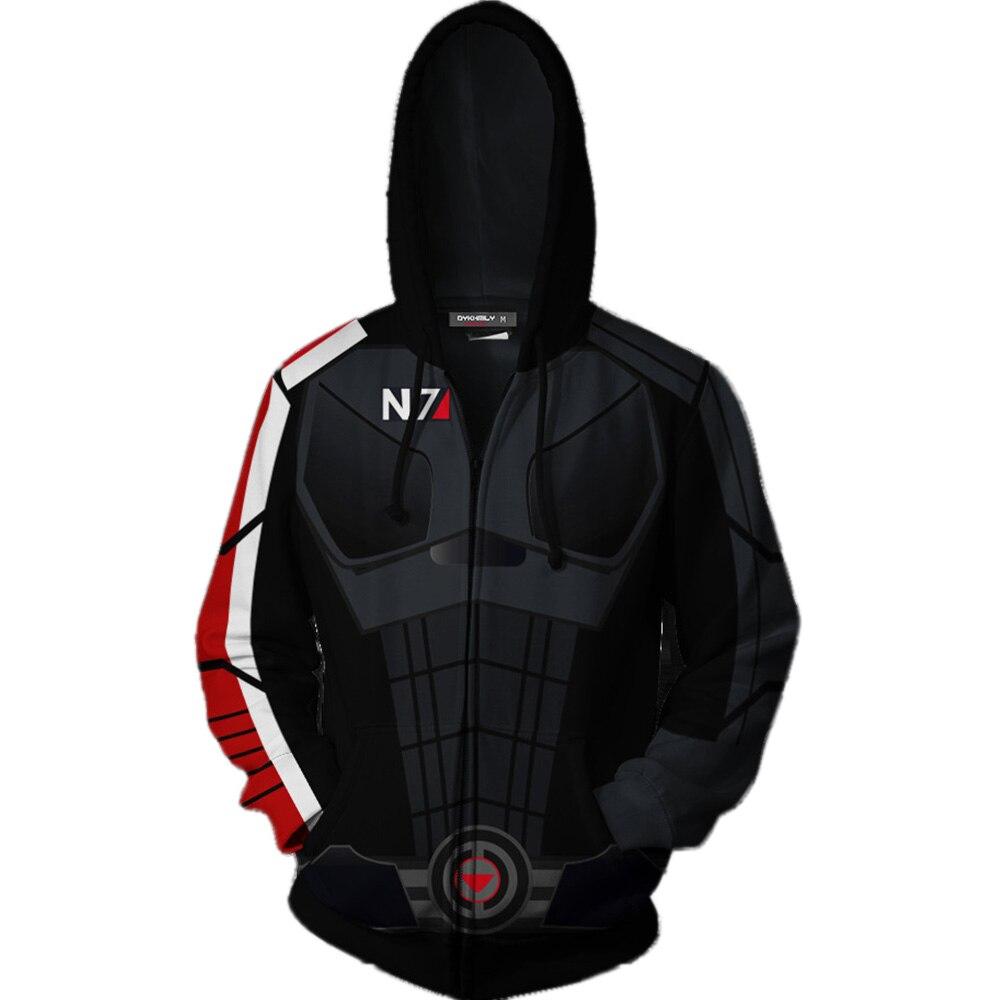 Mass Effect N7 Hoodies 3D imprimé hommes femmes adultes Hip Hop Streetwear à manches longues sweat Zipper Up à capuche pull veste