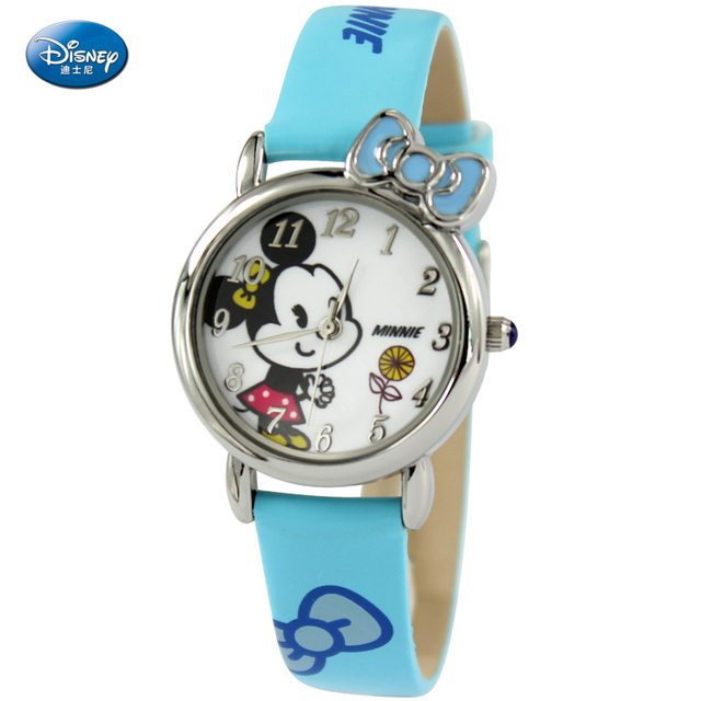 Children Watch Fashion Disney Brand Watches Quartz Wristwatches Waterproof Mickey Bow Kids Clock Girls Students Wristwatch