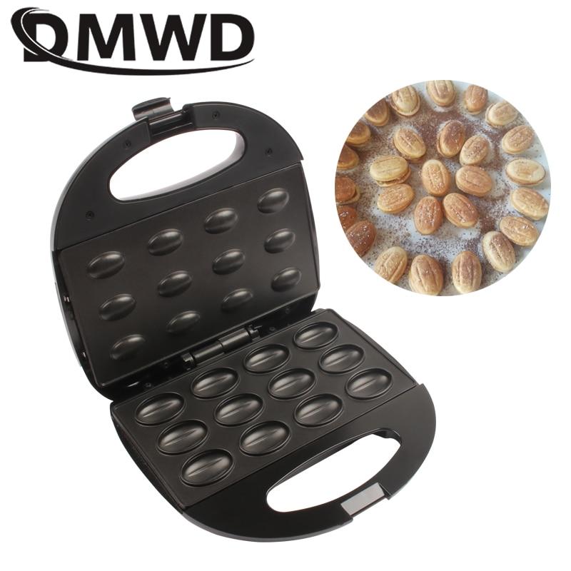 DMWD Electric Walnut Cake Maker Automatic Mini Nut Waffle Bread Machine Sandwich Iron Toaster Baking Breakfast Pan Oven EU Plug