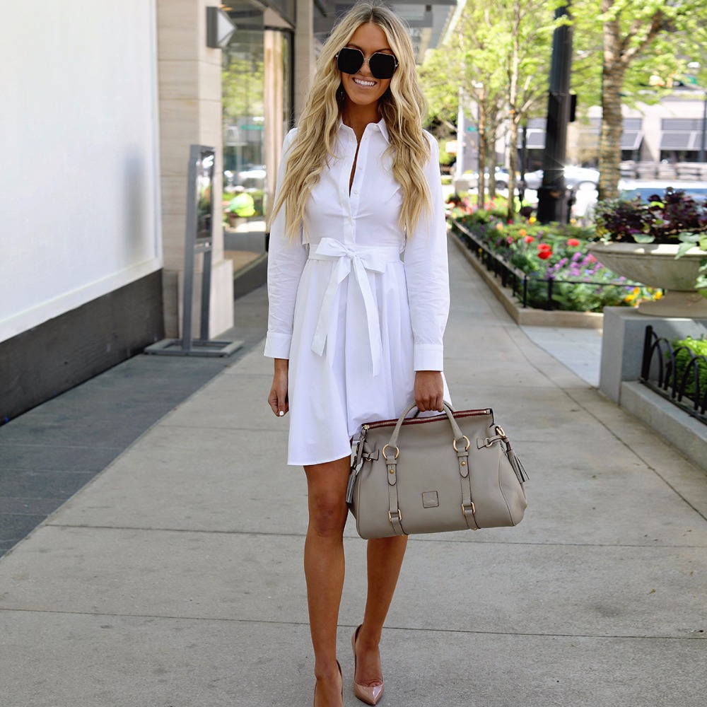 Long Sleeve Shirt Dress 2018 Spring Casual England Style White Patchwork DressesTurn Down Collar Buttons Mini Dresses