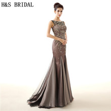 H&S BRIDAL Vintage Brown Mermaid Crystals Beading Luxury Mother Of The Bride Dresses vestido de festa evening dress long