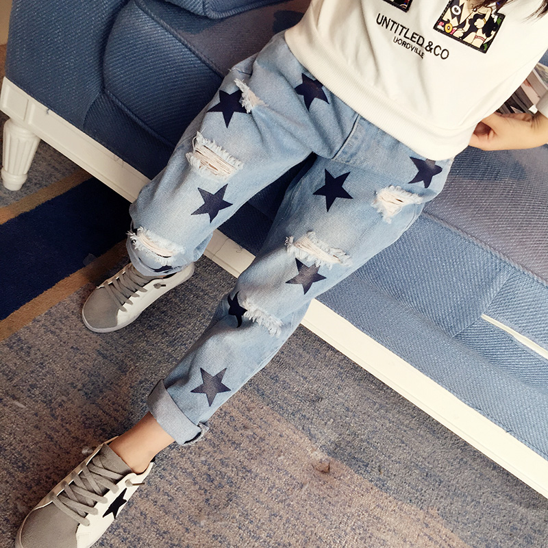 Children's Clothes Girls Autumn Cotton Pants Kids Casual Jeans Leggings Blue Color Female Child Star Hole Trousers Pencil pants new fashion women slim jeans casual roses embroidery pencil pants female short trousers for ladies