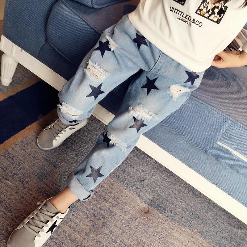 Çocuk Giyim Kız Sonbahar pamuklu pantolonlar Çocuklar günlük kot Tayt Mavi Renk Kadın Çocuk Yıldız Delik Pantolon kalem pantolon