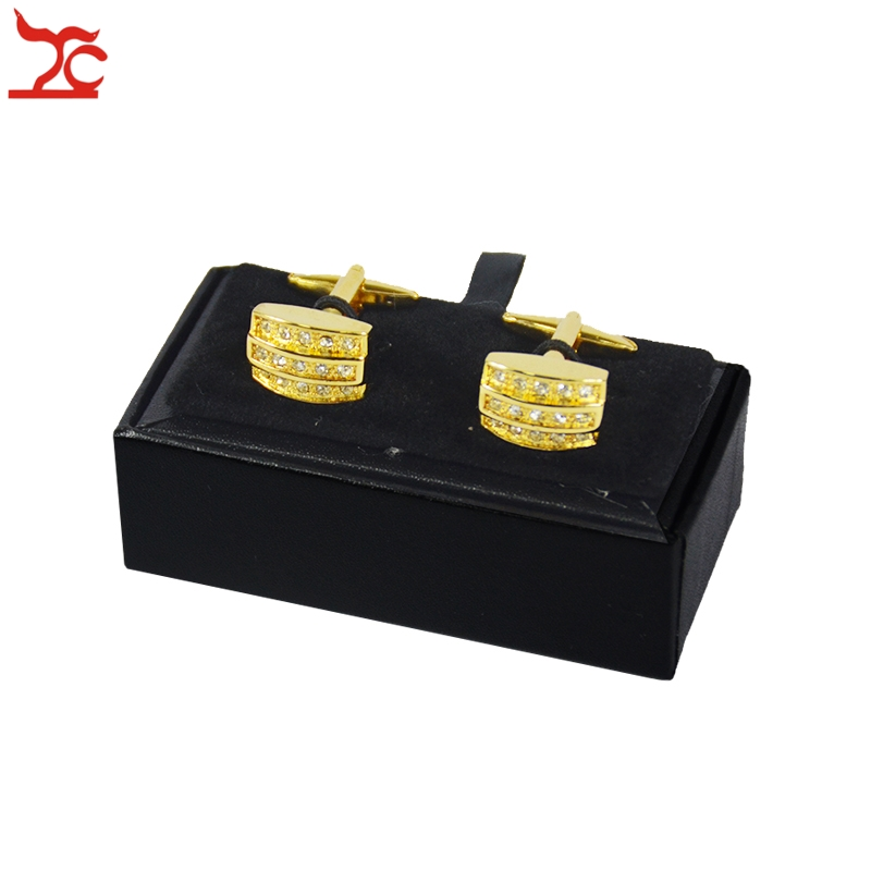 Hot Sale Cufflinks Box 40Pcs Black Leather Gemelos Cufflink Storage Boxes Cuff links Display Packaging Organizer Case 8*4*3cm-in Jewelry Packaging & Display from Jewelry & Accessories    2