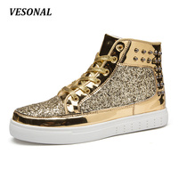 VESONAL Sequins Rivets PU Leather Men Casual Shoes High Top Hip Hop Rock Cool Fashion Couples