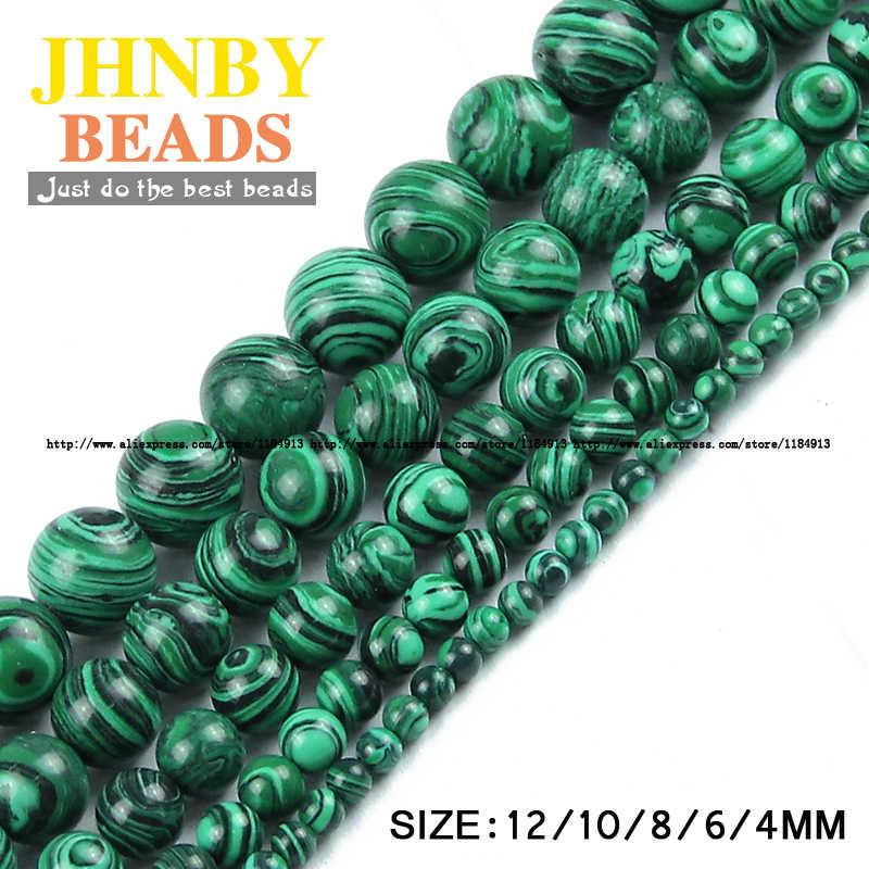 JHNBY マラカイトピーコックストーンフラットベース天然石ラウンドルースビーズボール 4/6/8/10/12 ミリメートルジュエリーブレスレットメイキング diy アクセサリー卸売