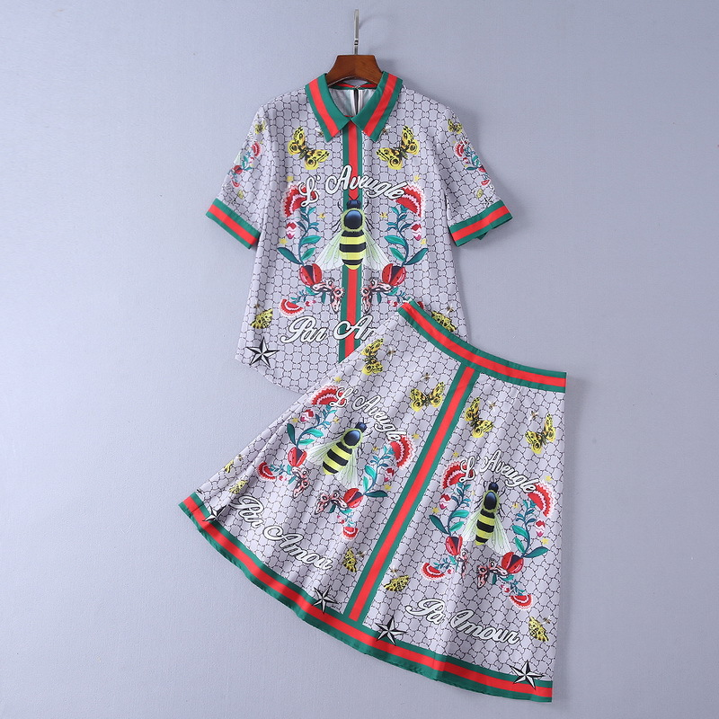 European and American womens wear The new summer With short sleeves bees butterfly Print ...