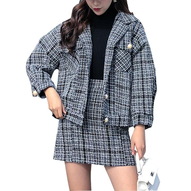 Vintage Women Clothing Set Elegant Plaid Woolen Two Pieces Suit Winter Coat + Skirt Fashion Women Suit Ladies Office Set 4XL