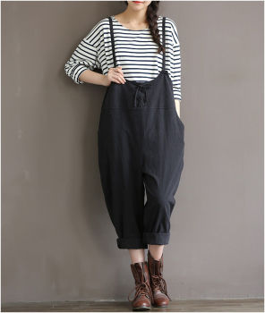 Plus Size Women Oversize Sleeveless Dungaree Jumpsuits Long Harem Trousers Stylish Womens Long Loose Pants Preppy Style Overalls plus size women in overalls