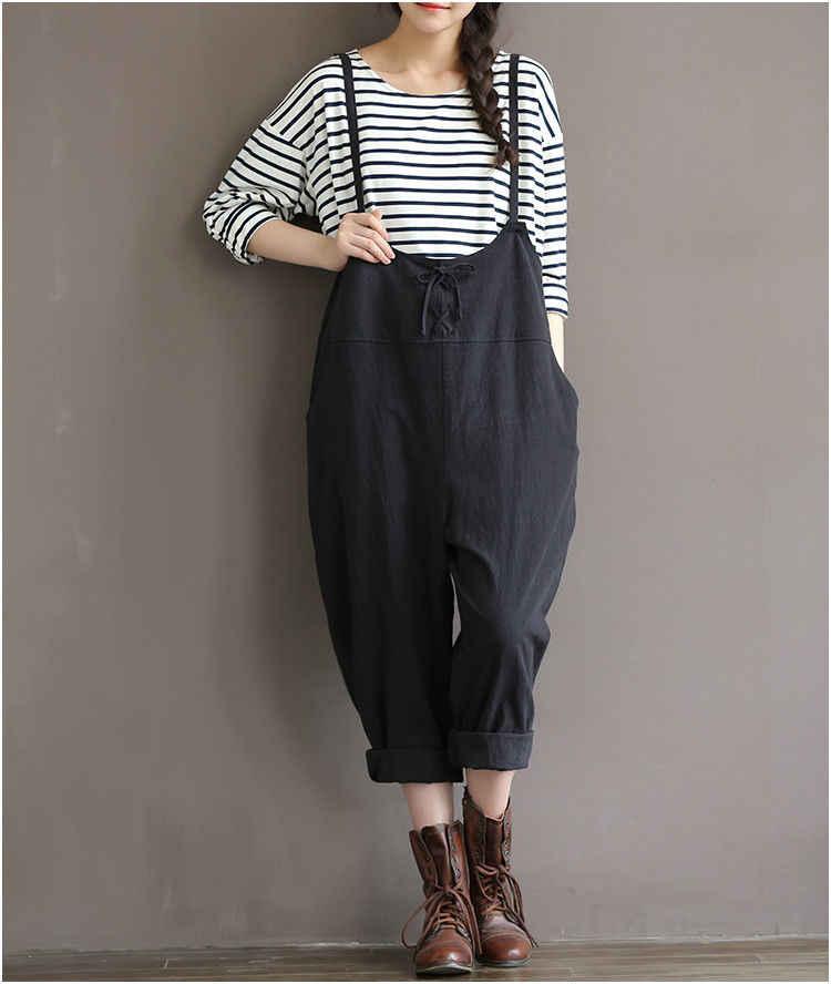 d90bb5c580a00 Plus Size Women Oversize Sleeveless Dungaree Jumpsuits Long Harem Trousers  Stylish Womens Long Loose Pants Preppy