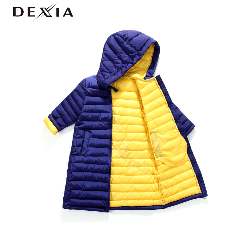 DEXIA Children Jacket For Girls and Boys Children's Autumn Winter Coat Clothing Kid Hooded Thin Long Cotton-padded Jacket Parka gkfnmt winter jacket women 2017 fur collar hooded parka coat women cotton padded thicken warm long jacket female plus size 5xl