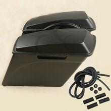 Матовый черный 5 «растягивается жесткого седло сумки Сумка для Harley Road King Street Glide мотоцикл мотокросс