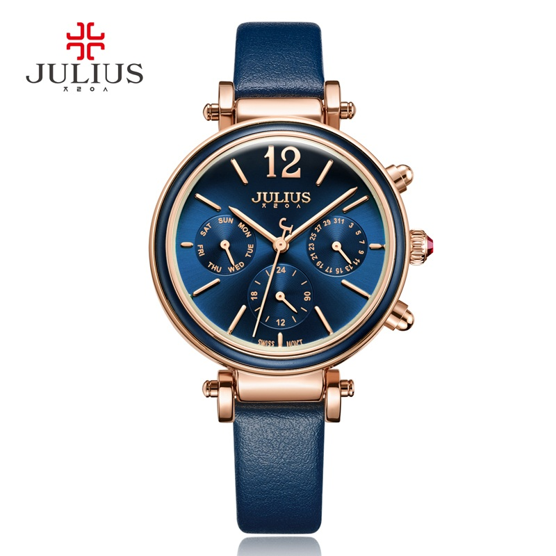 Real Functions Women's Watch ISA Mov't Hours Clock Fine Fashion Dress Bracelet Woman Sport Leather Birthday Girl Gift Julius Box real multi functions julius women s watch isa quartz hours fine fashion dress bracelet sport leather birthday girl s gift box