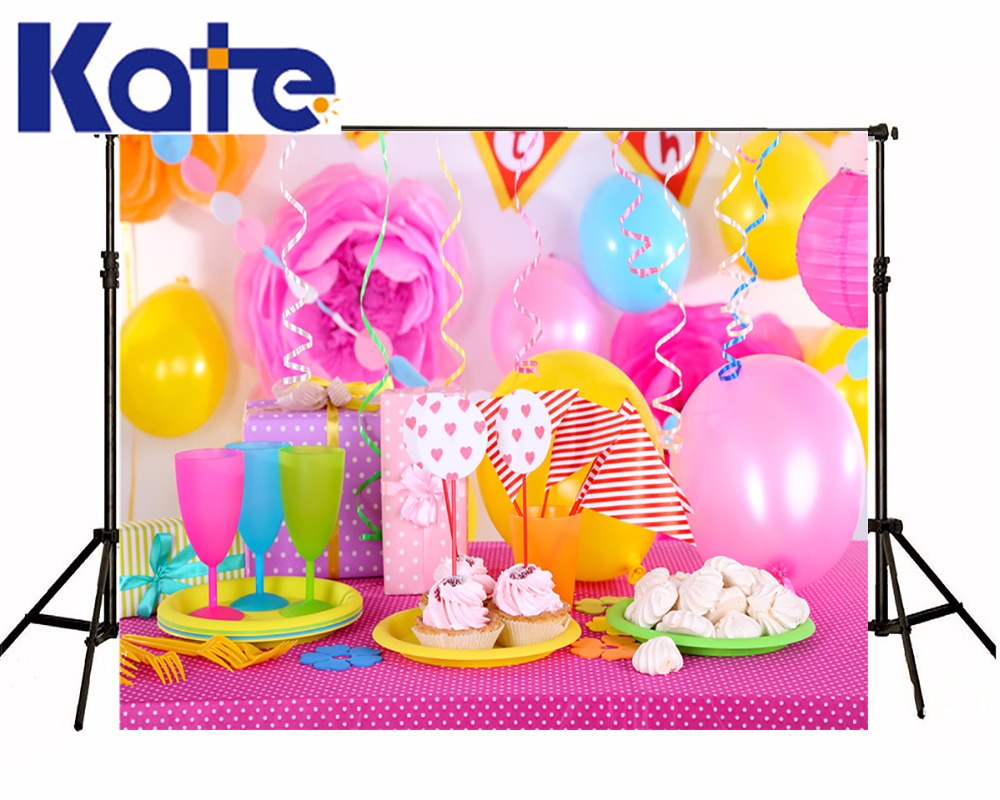Kate Newborn Birthday Photography Background Lollipop Ballon Backdrops Pink Dessert Table Background for Children Photo Shoot kate dry land photography backdrops land photography background retro children custom backdrop props for newborn photo shoot